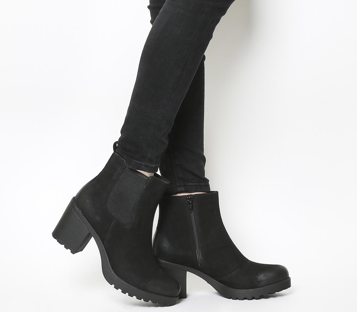 Vagabond Grace black stretch mid heeled ankle boots