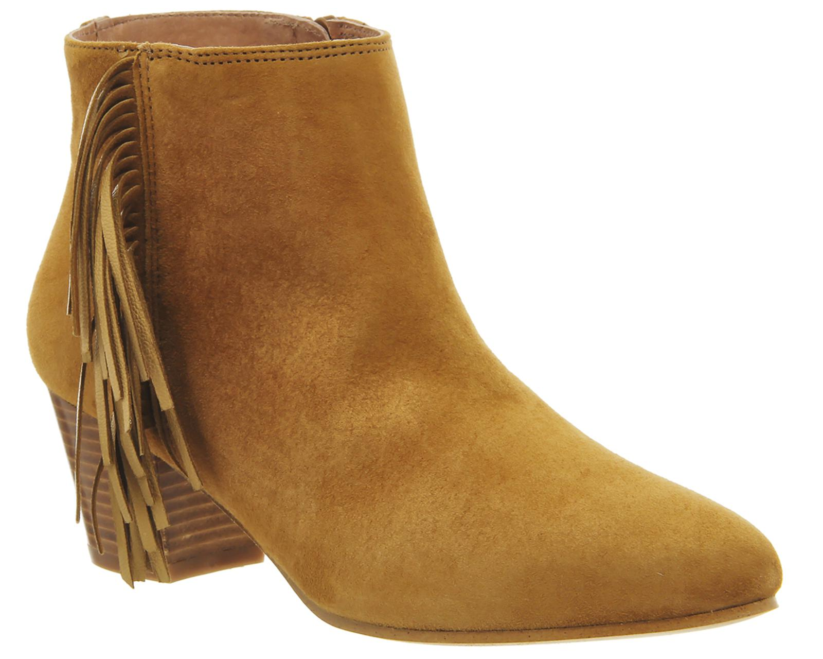 Suede Idaho Fringe Ankle Boots In Tan