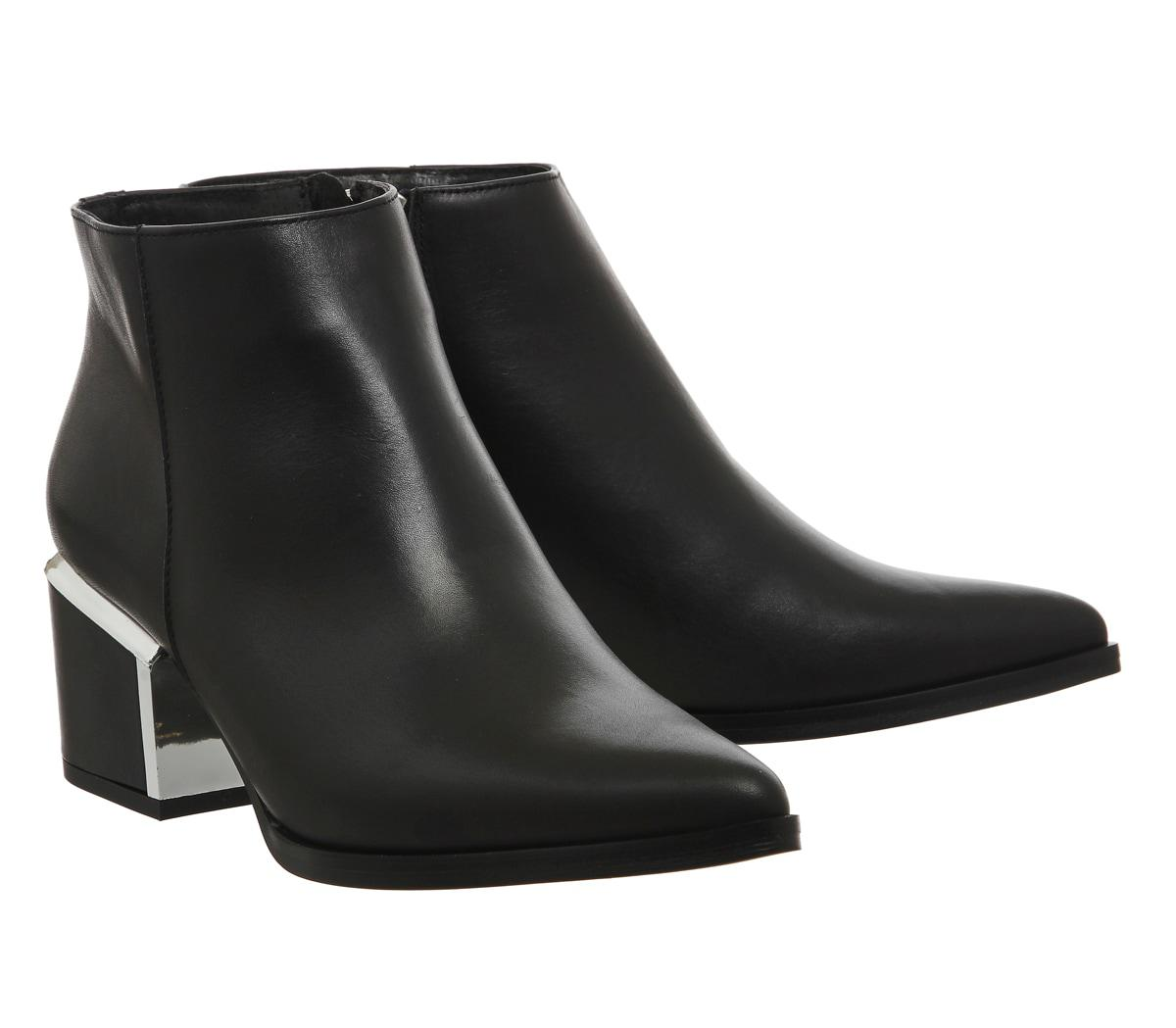 Office Leather Immortal Metal Heeled Boots in Black