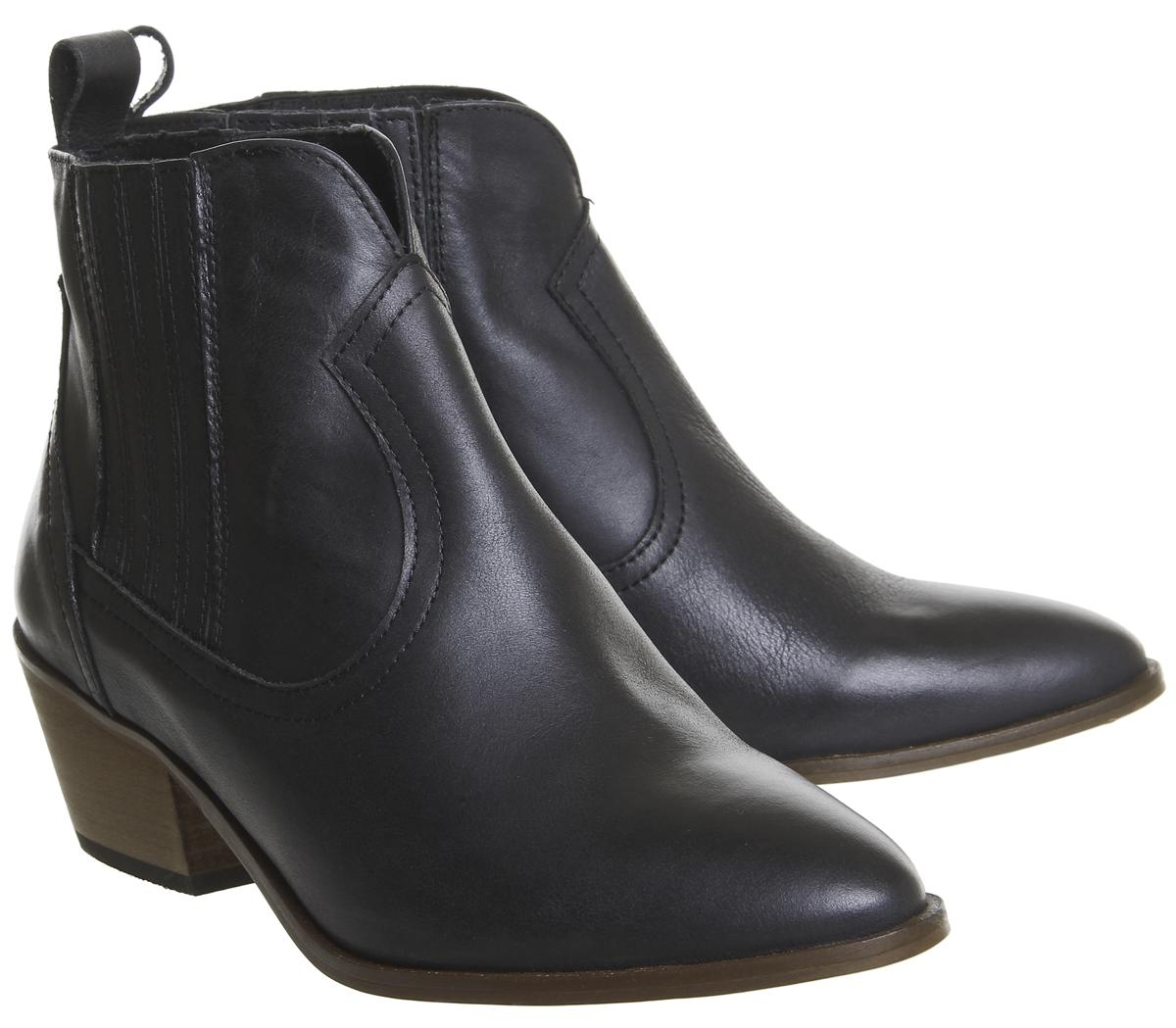 Office Leather America Western Chelsea Boots in Black