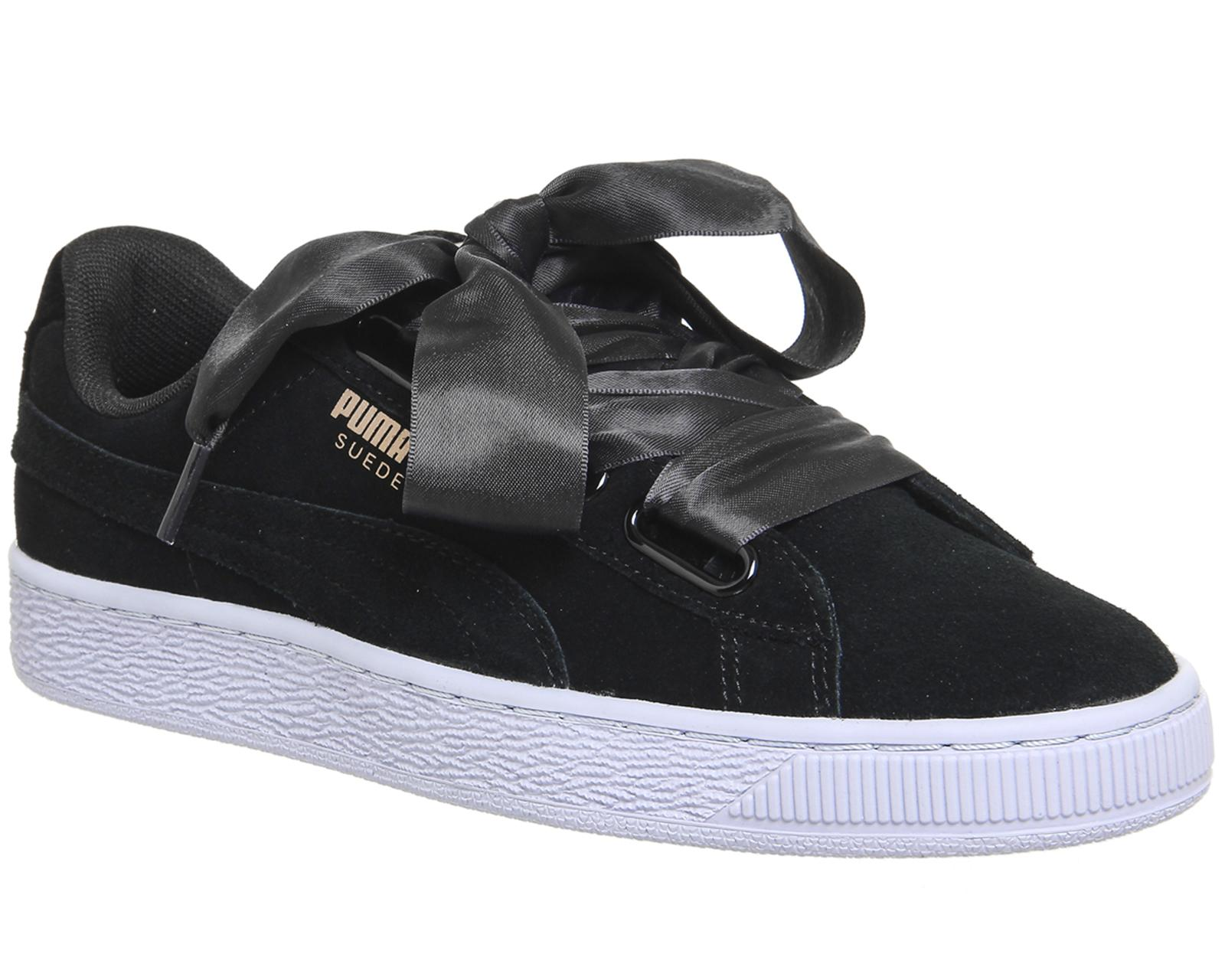 PUMA Suede Heart Trainers in Black Gold