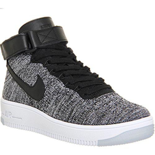 Nike Leather Air Force 1 Mid Flyknit in Black for Men - Lyst