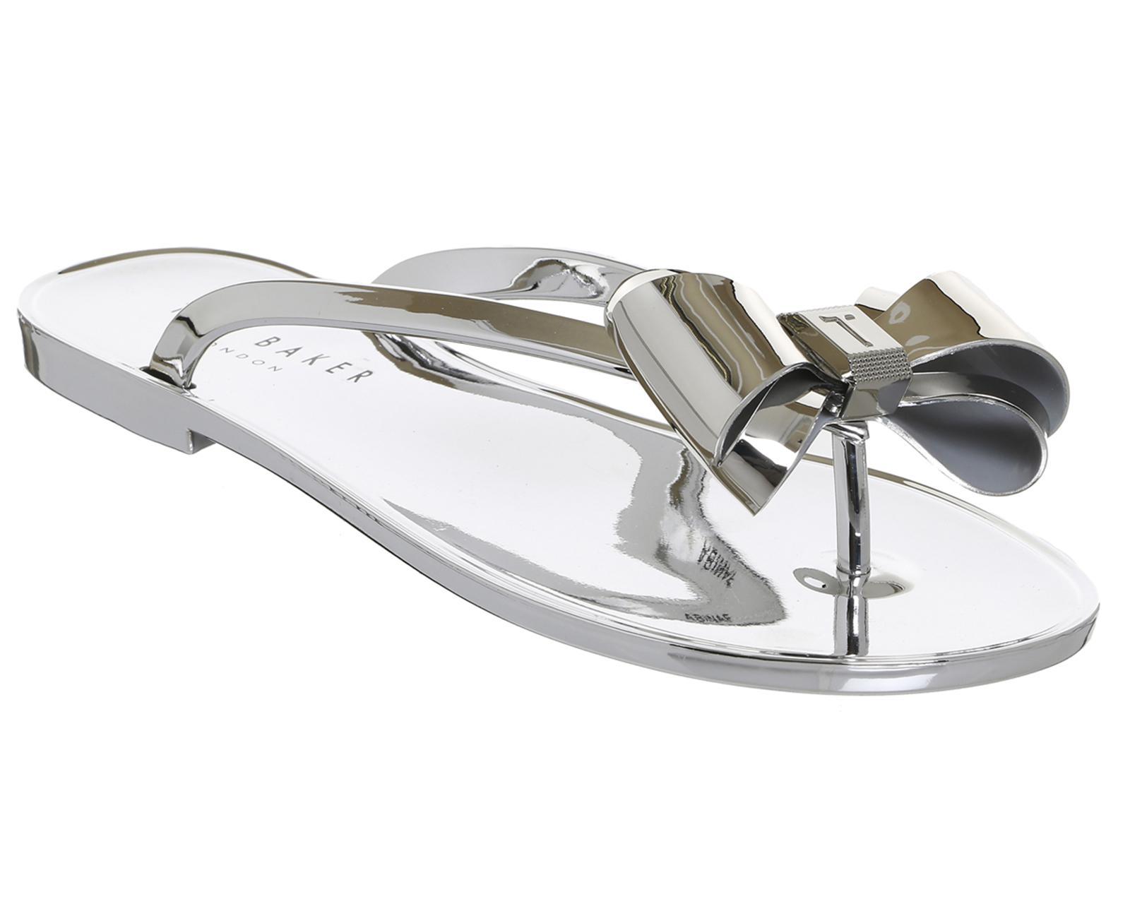 Ted Baker Glamaar Flip Flops in Silver