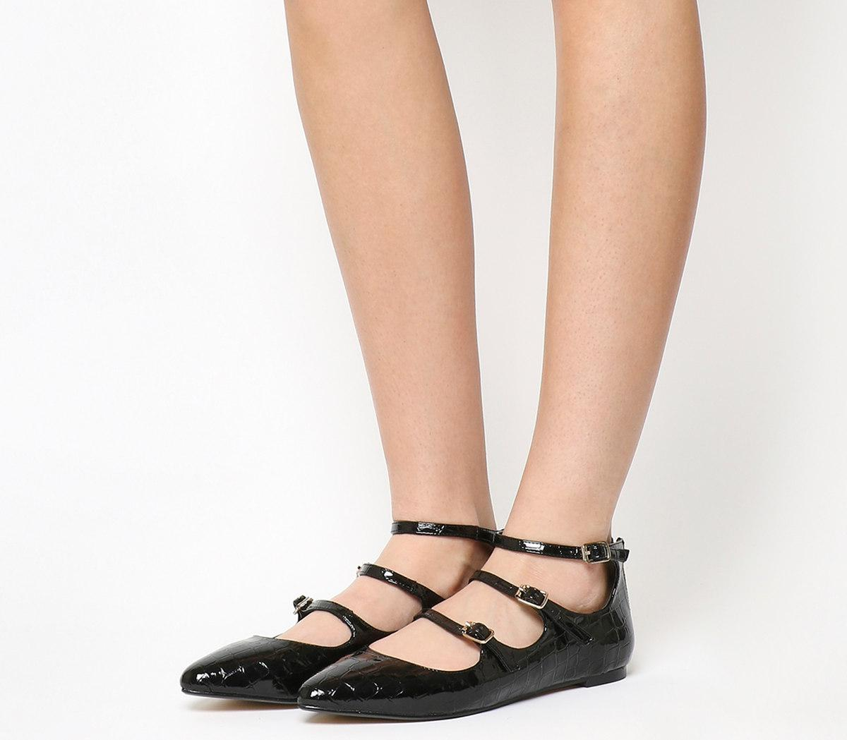 Lyst - Office Resist 3 Strap Mary Jane Flats in Black