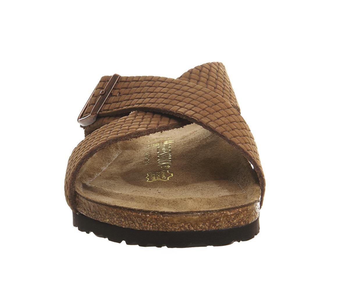 Birkenstock Suede Tunis Cross Strap Sandal In Cocoa Brown