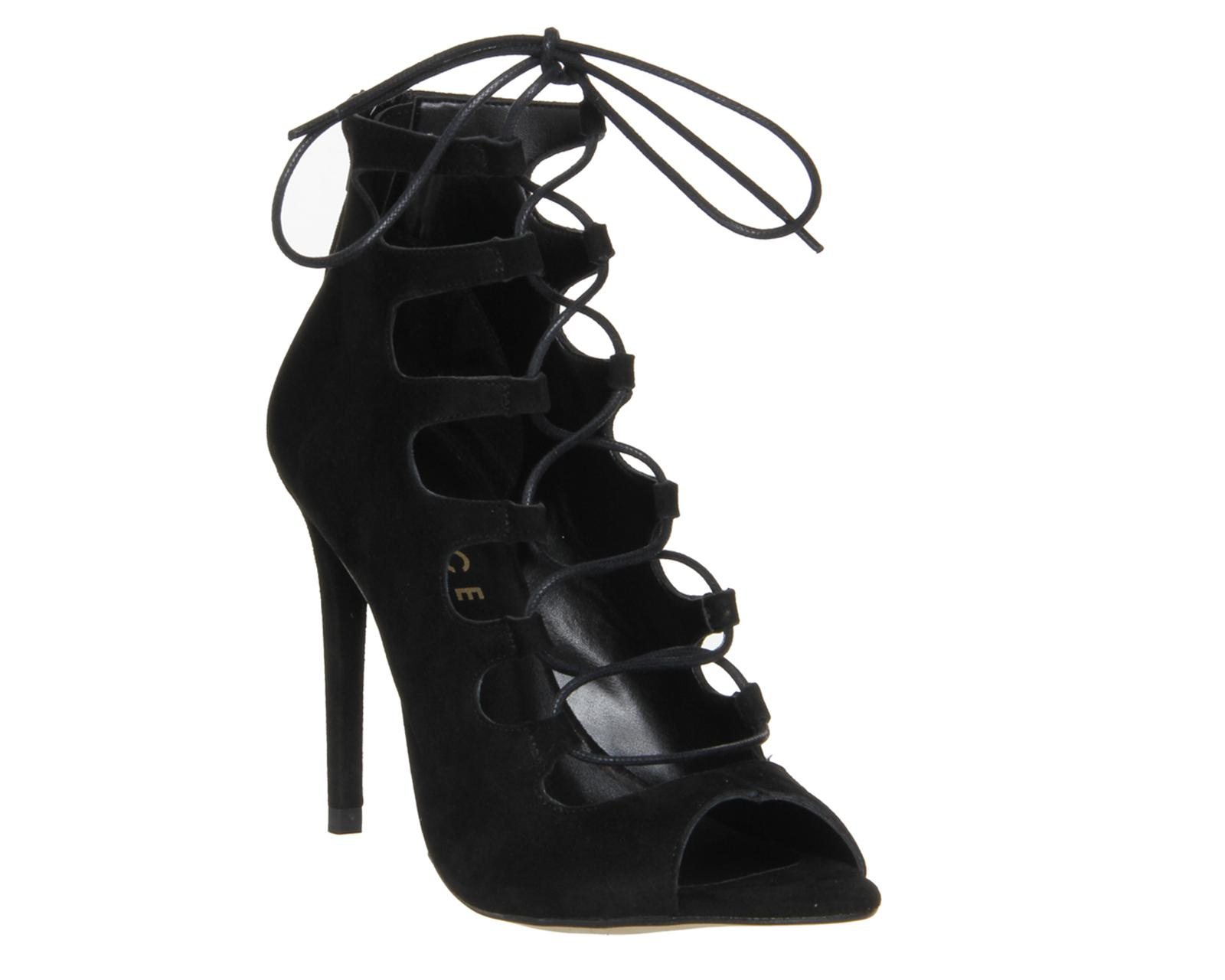 2696990d038a Lyst - Office Parisian Lace Up High Heel Sandals in Black