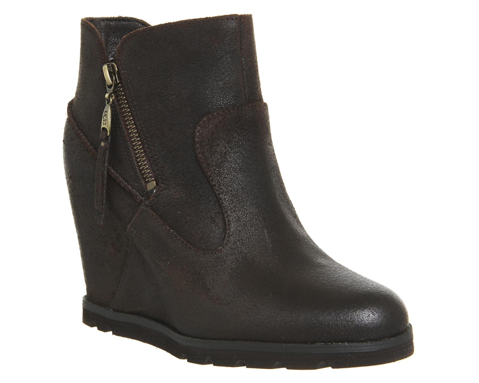 ugg myrna wedge boots in black lyst
