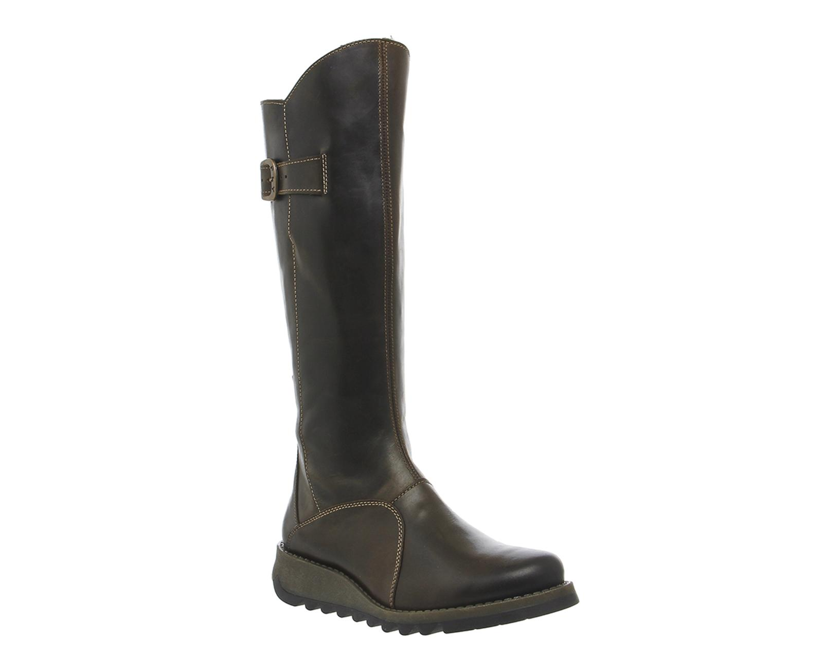 fly mol 2 low wedge buckle boots in green lyst
