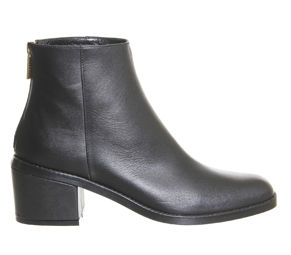 Office Leather Premium Berlin Ankle Boots in Black