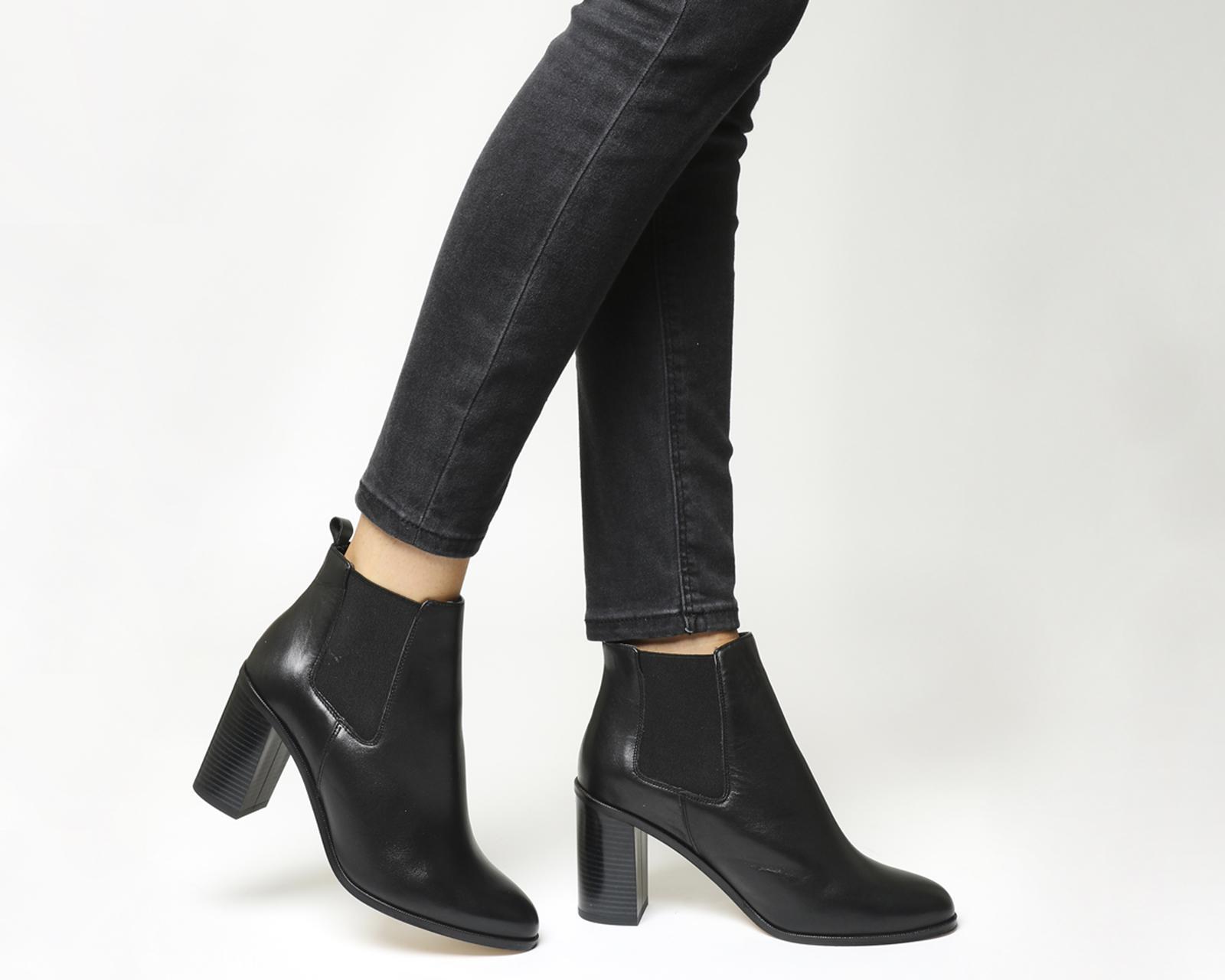 bf13f26abf4 Office - Black Logo Block Heel Chelsea Boots - Lyst