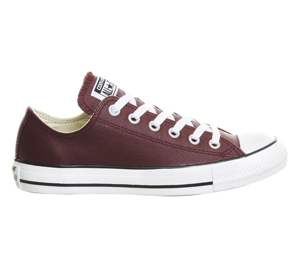 converse all star low leather in purple lyst. Black Bedroom Furniture Sets. Home Design Ideas