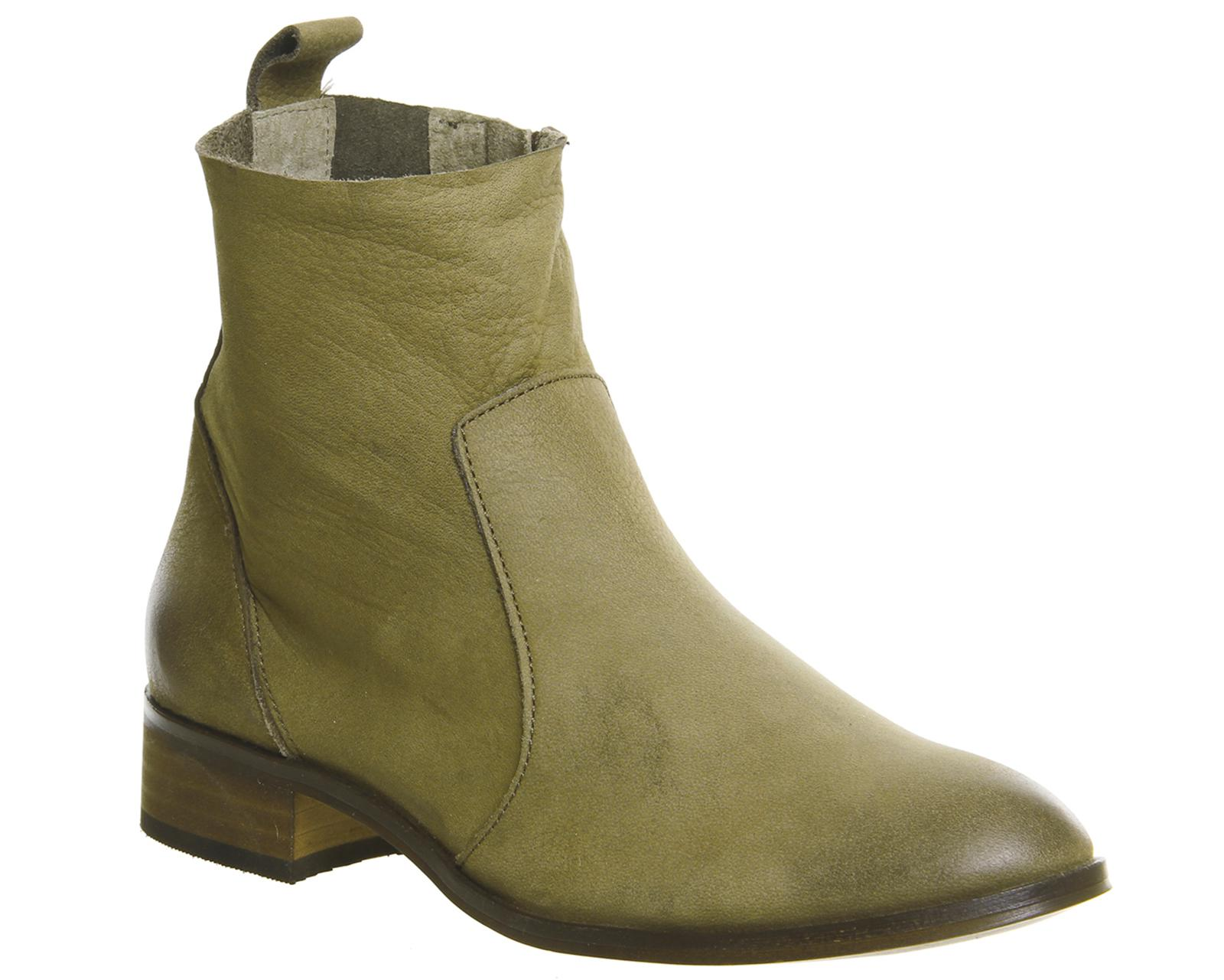 Office Ashleigh Flat Ankle Boots In Green Lyst