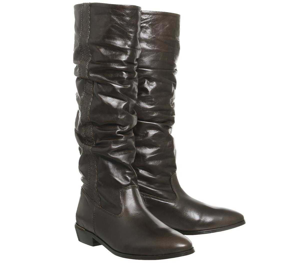 Office Leather Kansas Vintage Knee Boots in Brown
