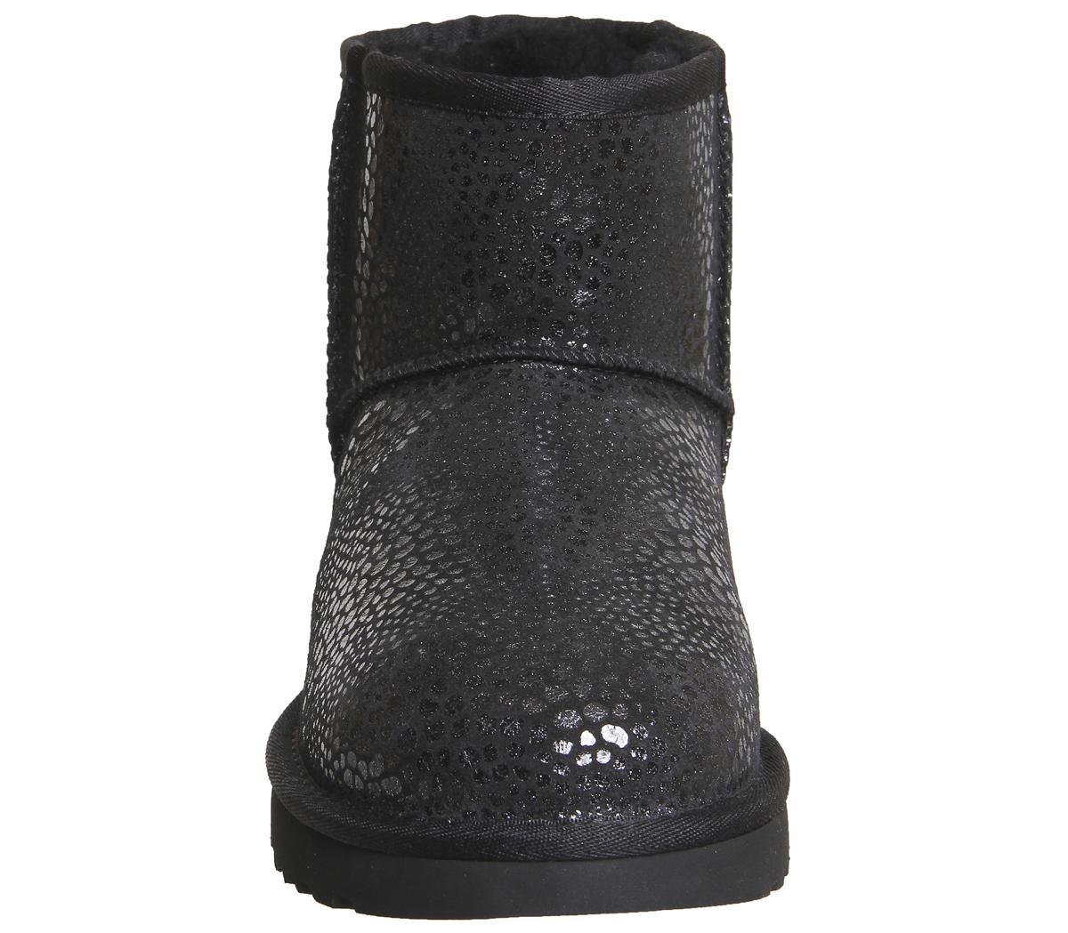 UGG Suede Classic Mini Glitzy Boots in Black