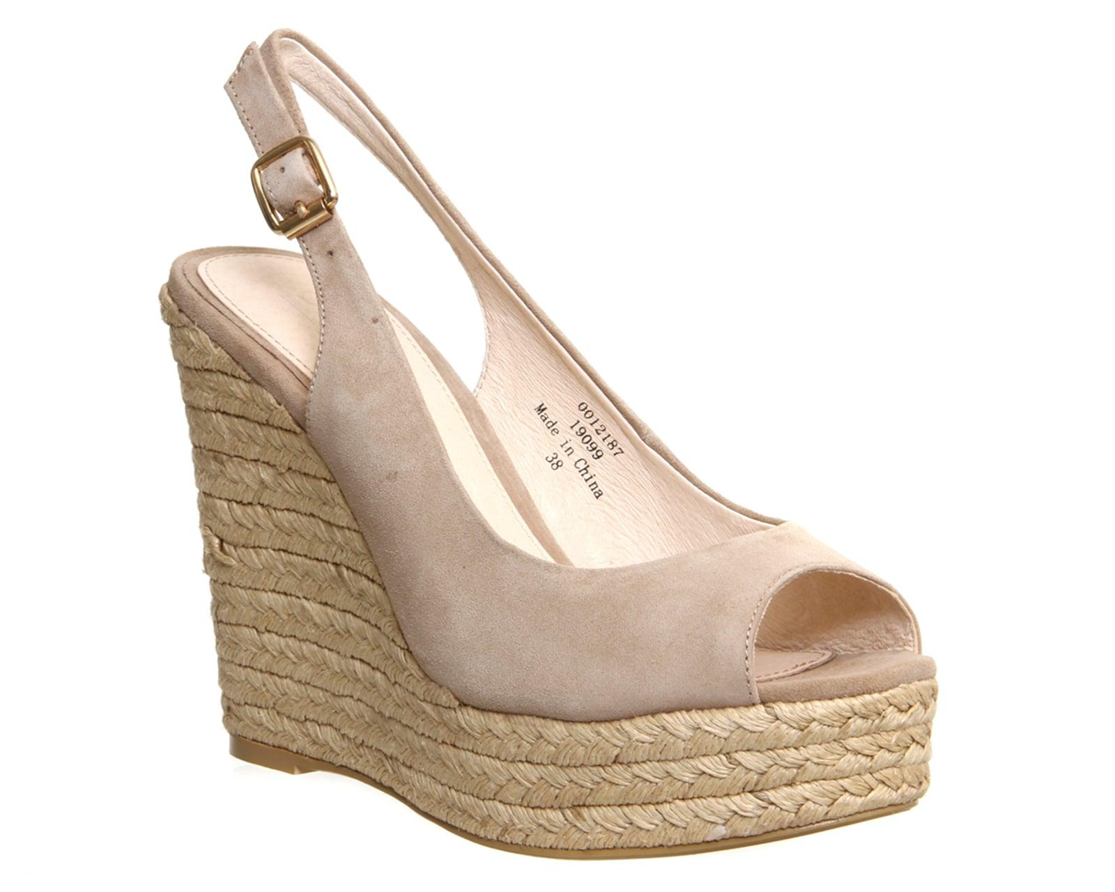 outlet online fashion style new high Office Suede Palm Slingback Espadrille Wedges in Taupe (Natural ...