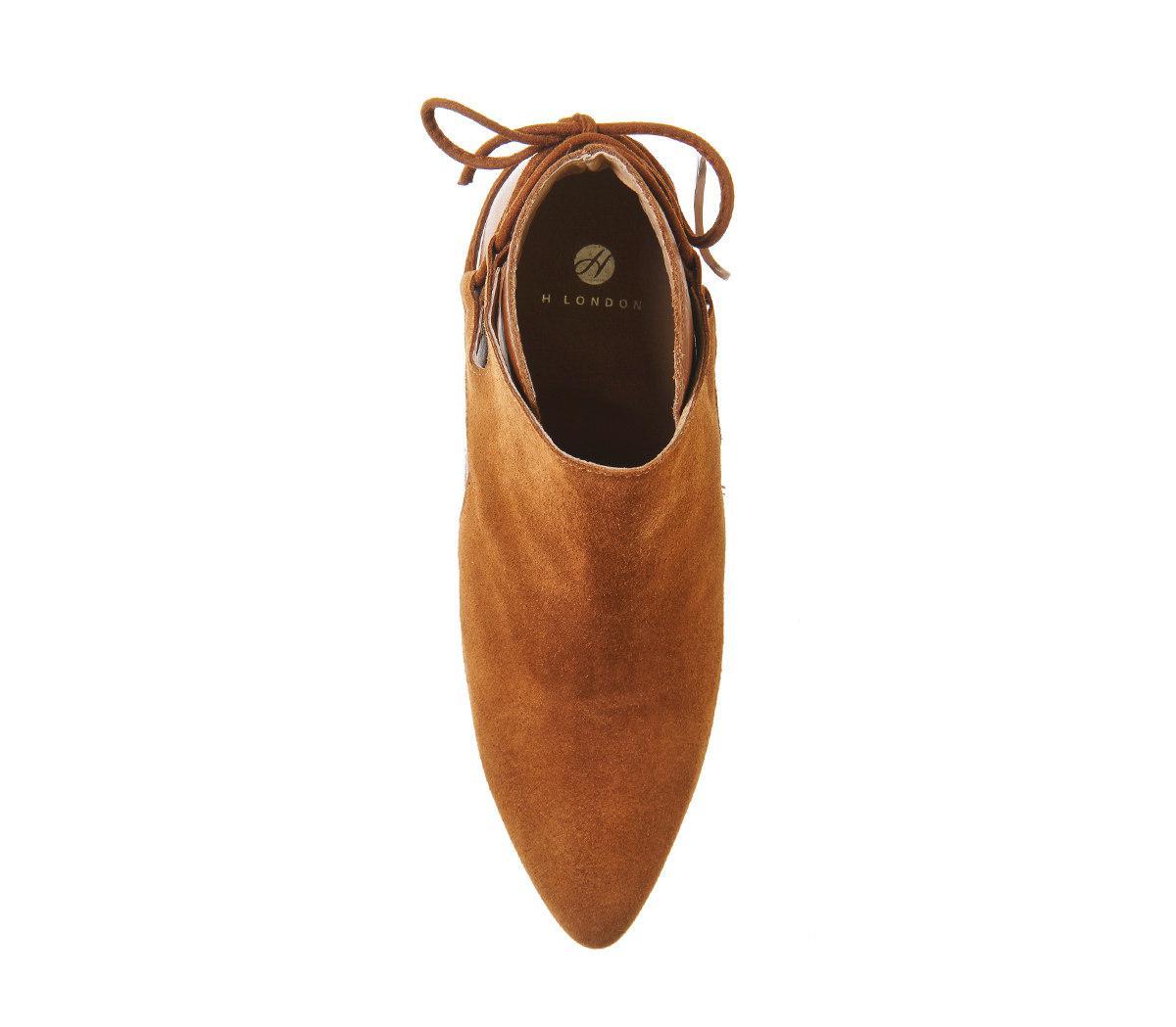 H by Hudson Suede Minka Back Tie Boots in Rust (Brown)