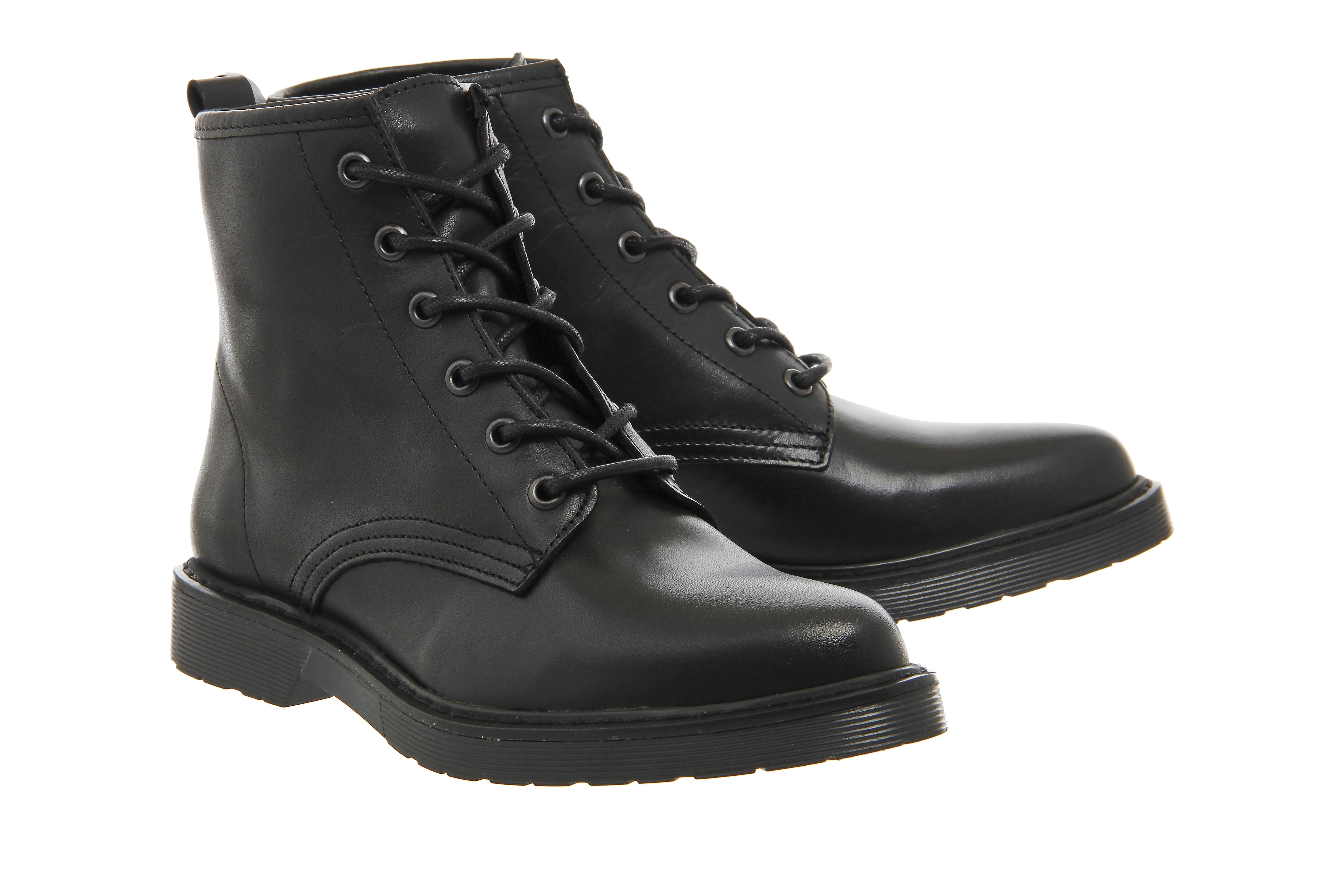 Office Leather Inkblot Cleated Lace Up Boots in Black