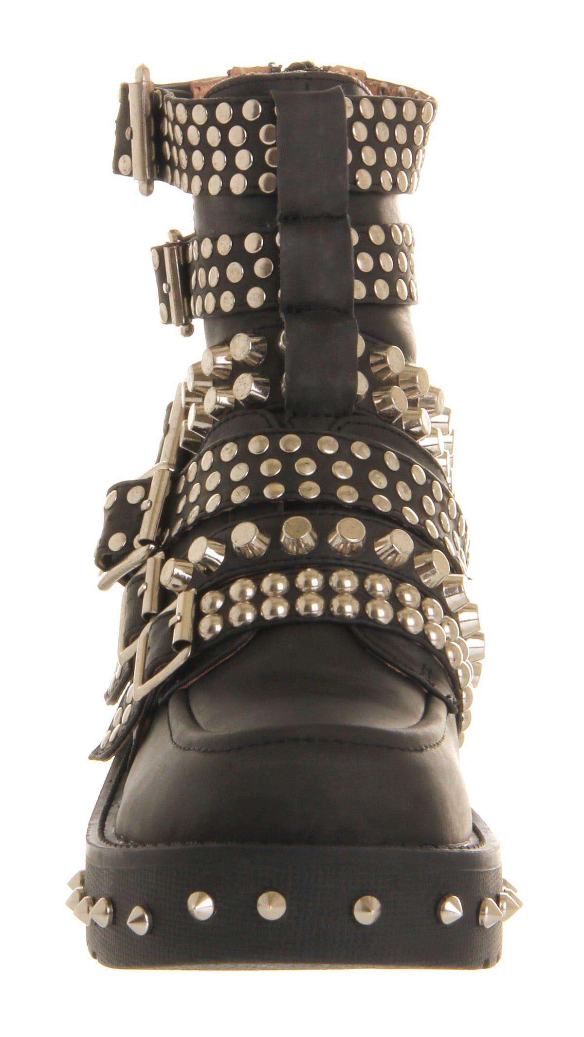Jeffrey Campbell Colburn Buckle Ankle Boots in Black