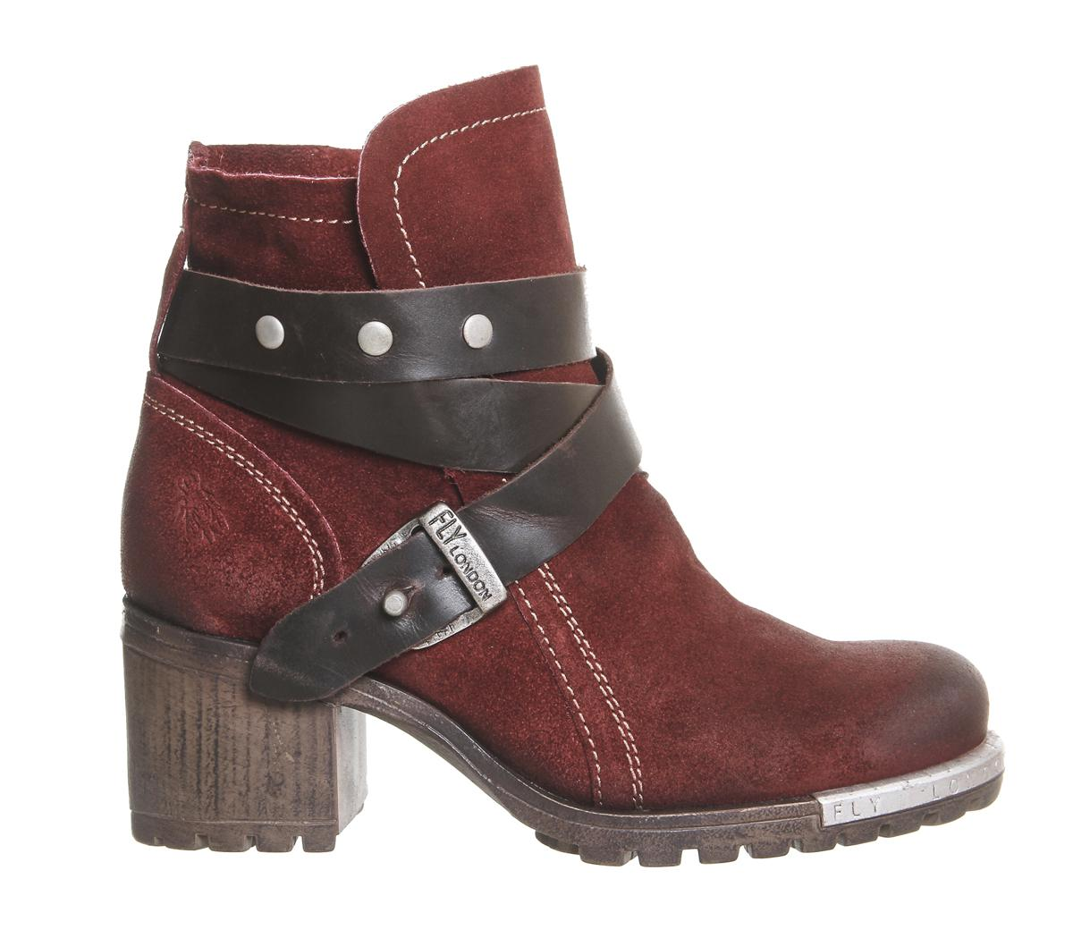 Fly London Suede Lok Strap Ankle Boots