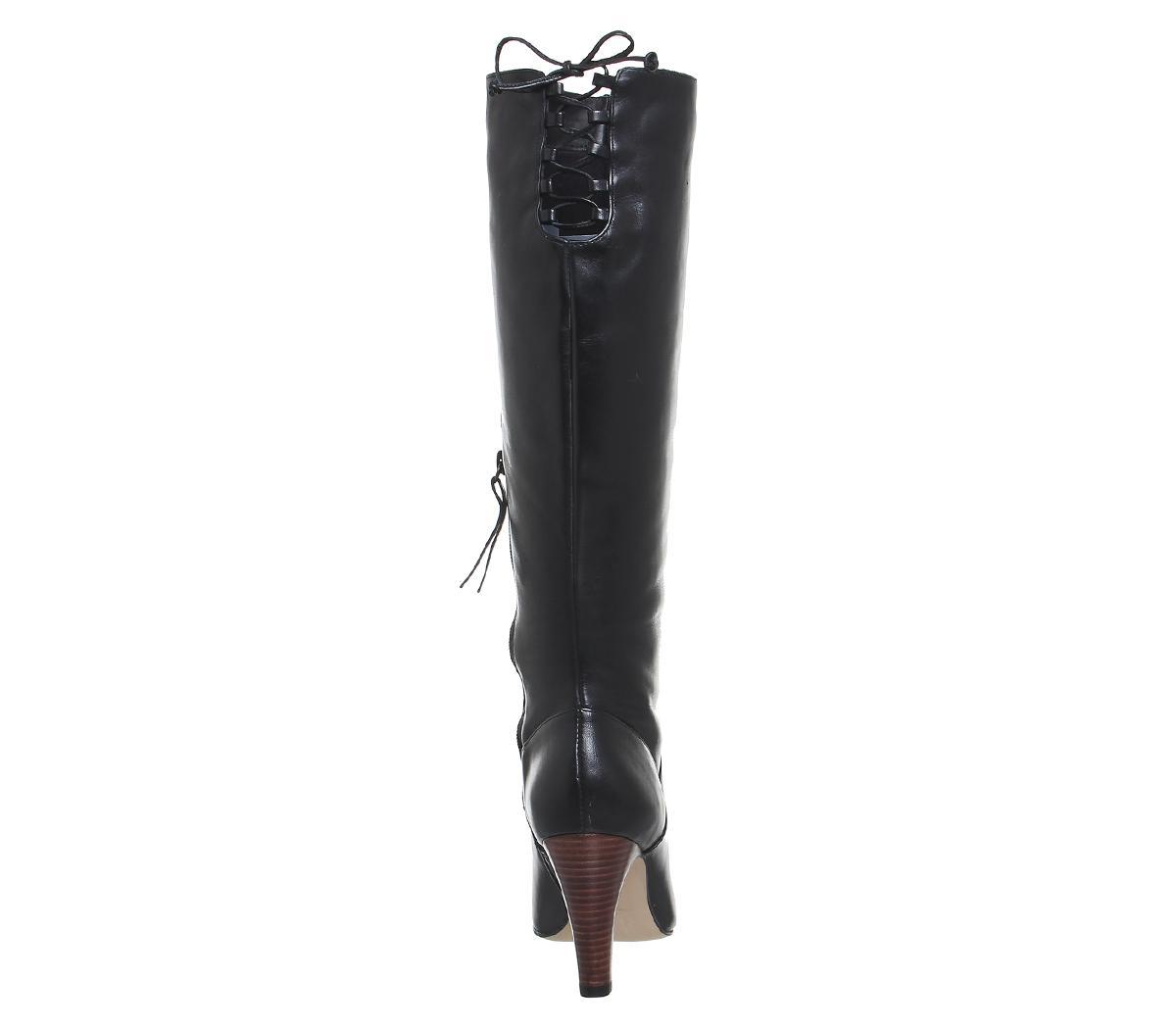 e8e638a0a83 Office Black Knicks Block Heel Knee Boots