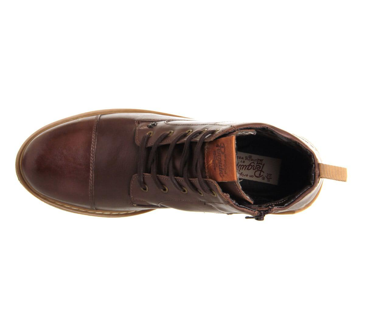 New Mens Penguin Brown Dalston Leather Boots Lace Up