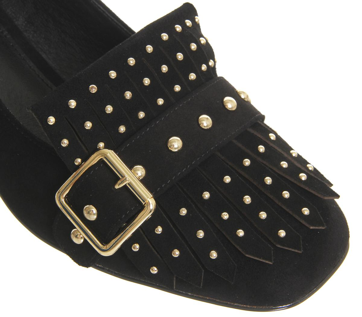 Low Block Heeled Black Studded Shoes  Uk