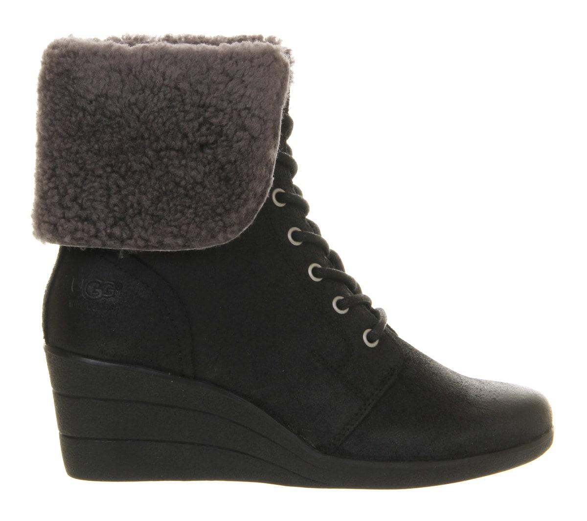 UGG Zea Shearling Wedge Lace Up Boots in Black