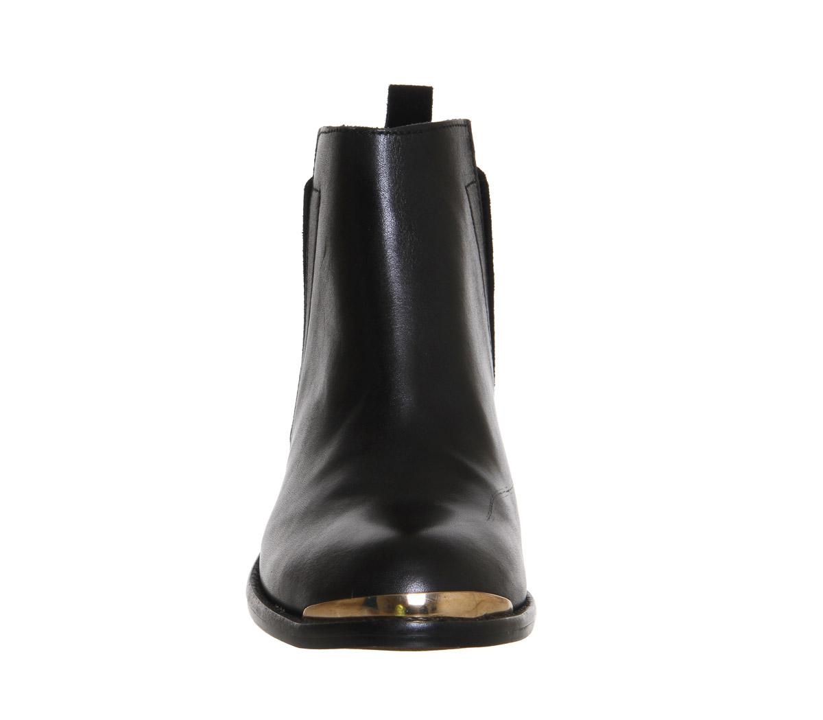 Office Leather Concept Mid Heel Ankle Boots in Black