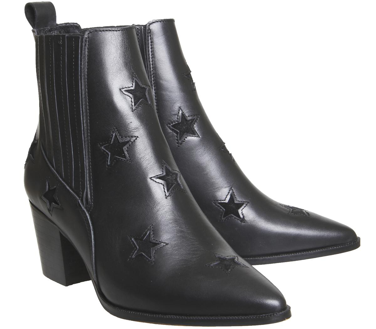 Office Leather Astronomy Western Ankle Boots in Black