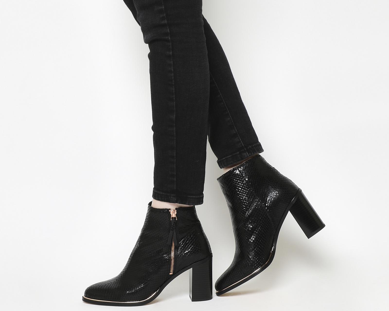 eadff3ff2b9 Office Ava Side Zip Heel Boots in Black - Lyst