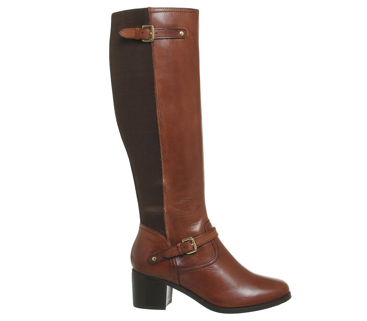 Office Leather Kennedy Mid Heel Riding Boots in Tan (Black)