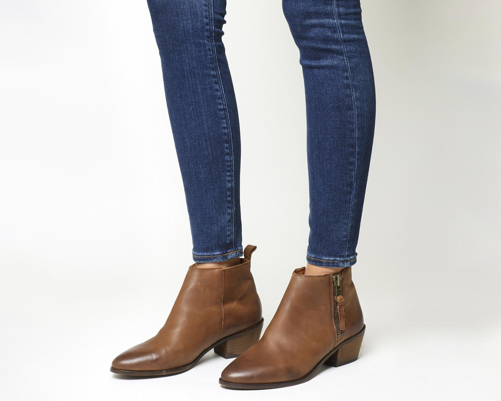 Imposter Side Zip Ankle Boots In Tan