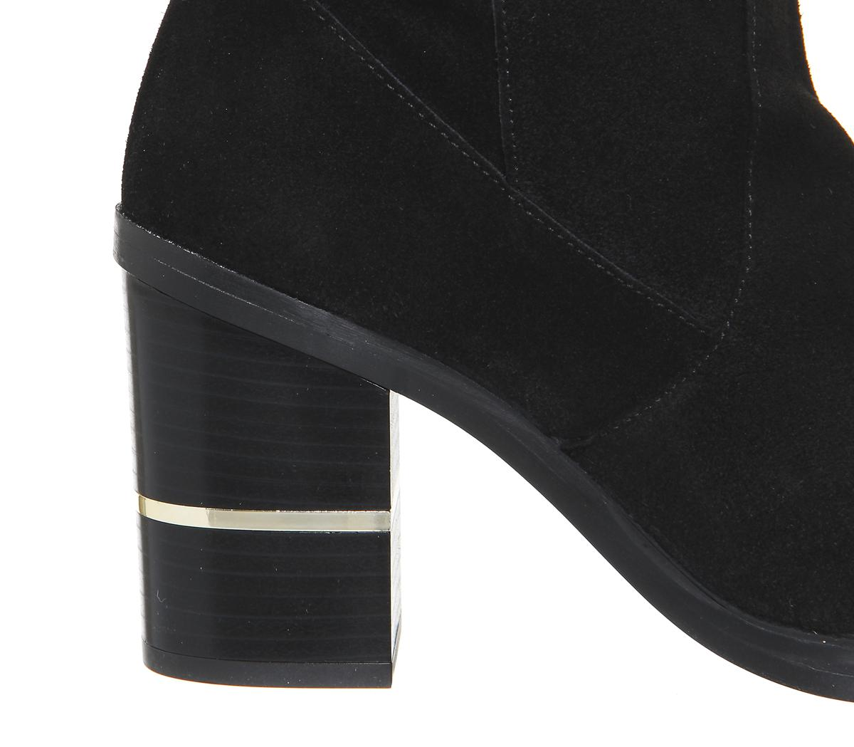 Office Suede Elemental Over The Knee Boots in Black