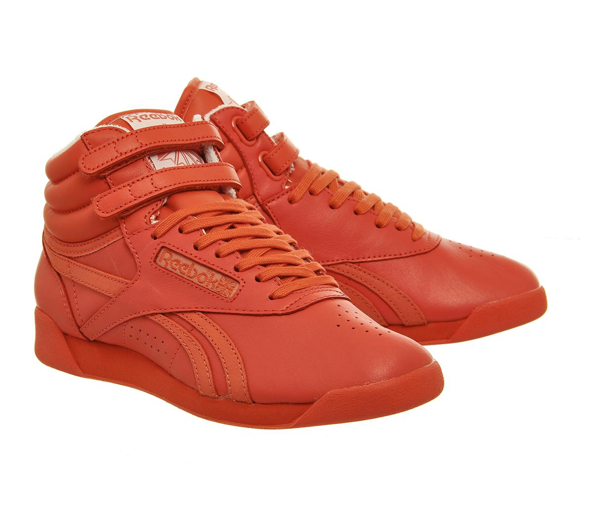 Reebok Leather Freestyle Hi in Red - Lyst