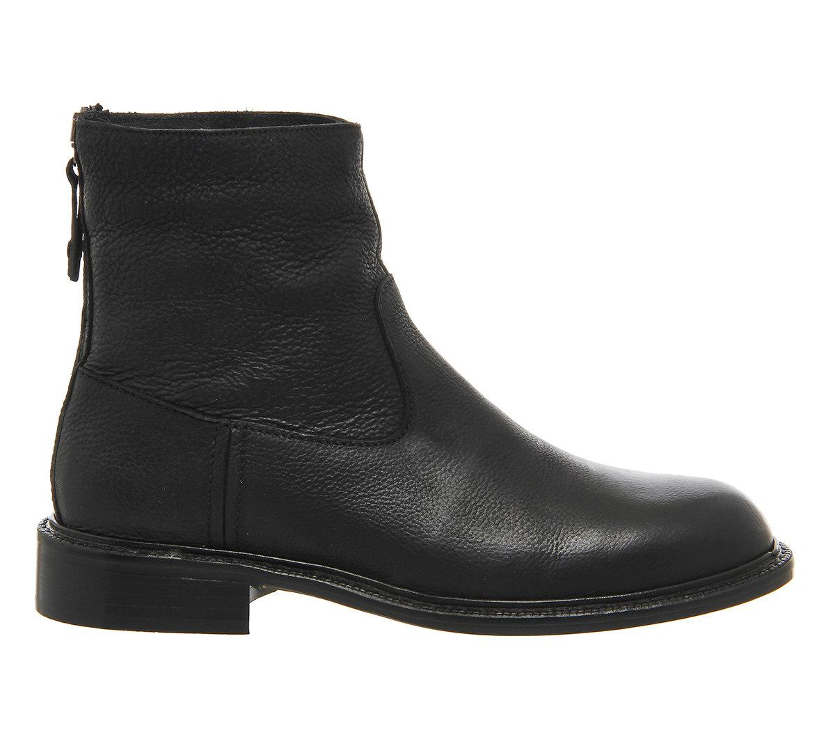 Office Leather Birch Back Zip Boots in Black