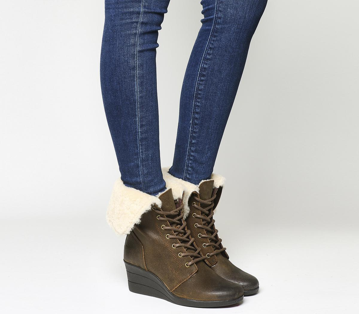 UGG Suede Zea Shearling Wedge Lace Up