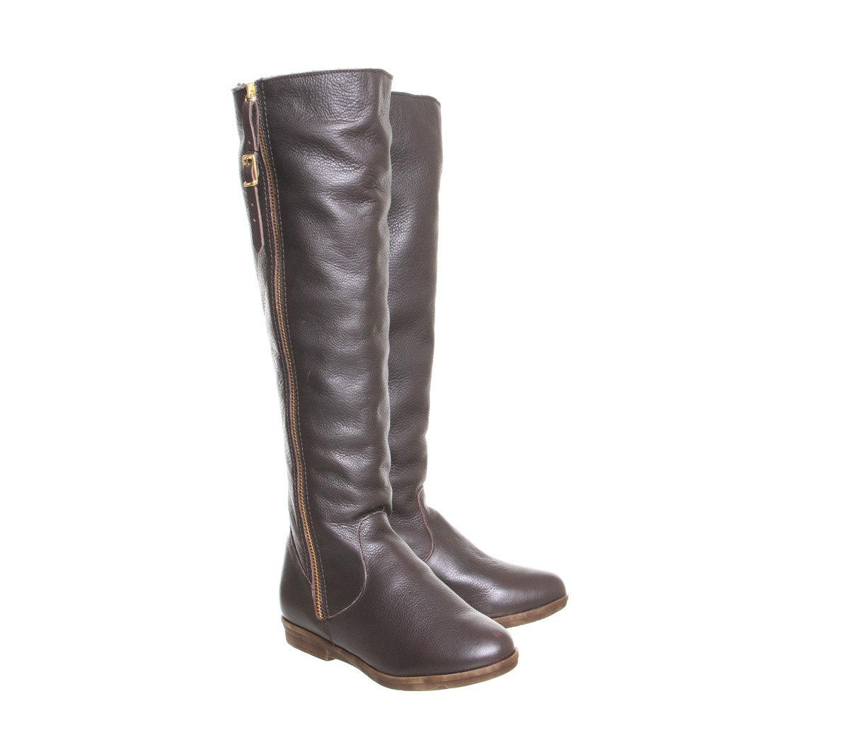 Office Nautical Knee Boots in Brown