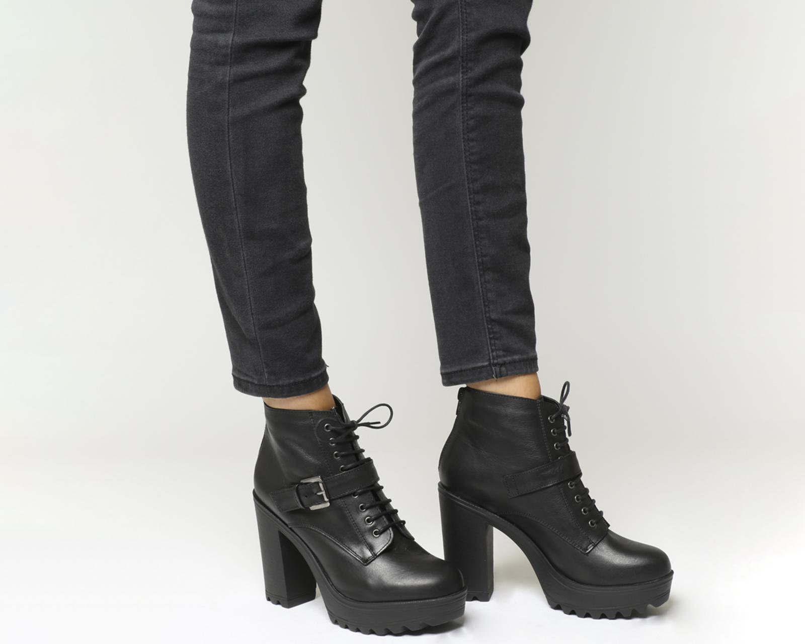 Office Leather Candid Chunky Heel Harness Boots in Black