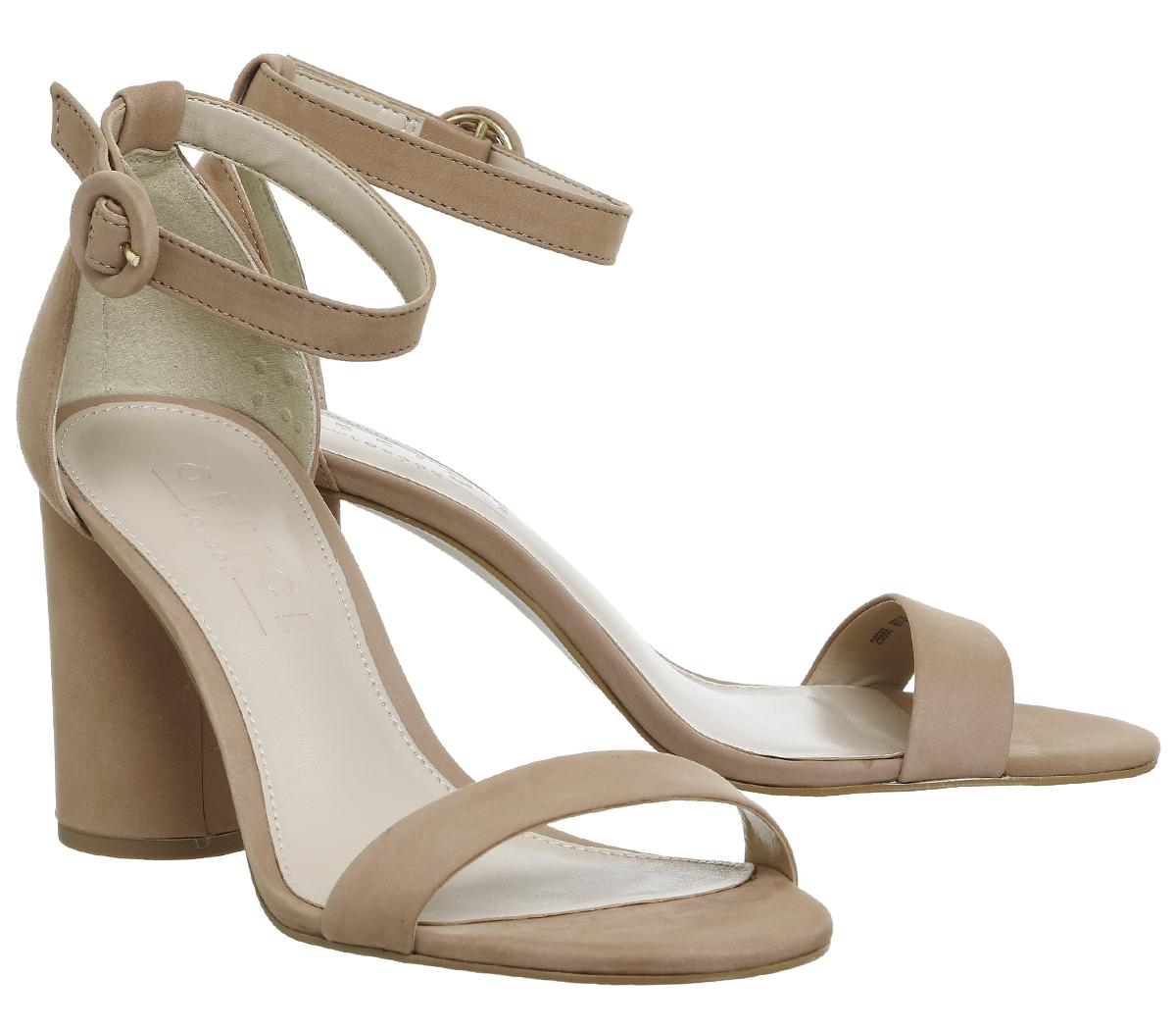 Womens Office Hotness Heeled Sandals Nude Nubuck Heels