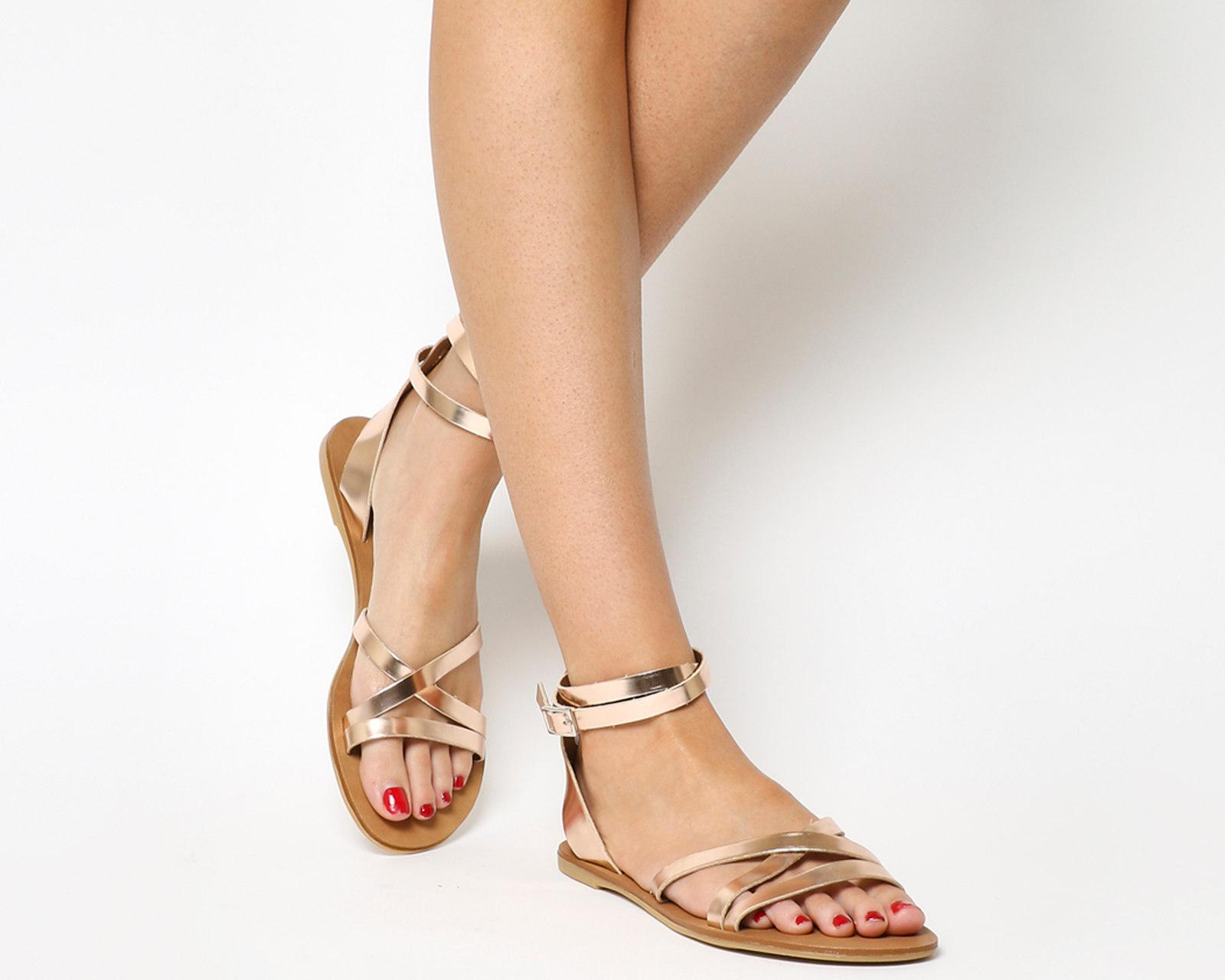 86876b67b548 Lyst - Office Stephan Strappy Ankle Sandals in Metallic
