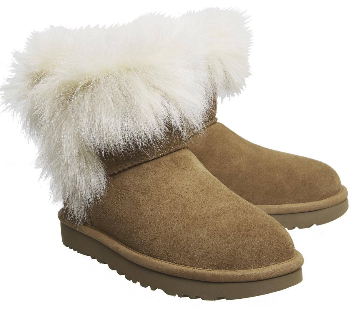 UGG Milla Fur Cuff Boots In Brown