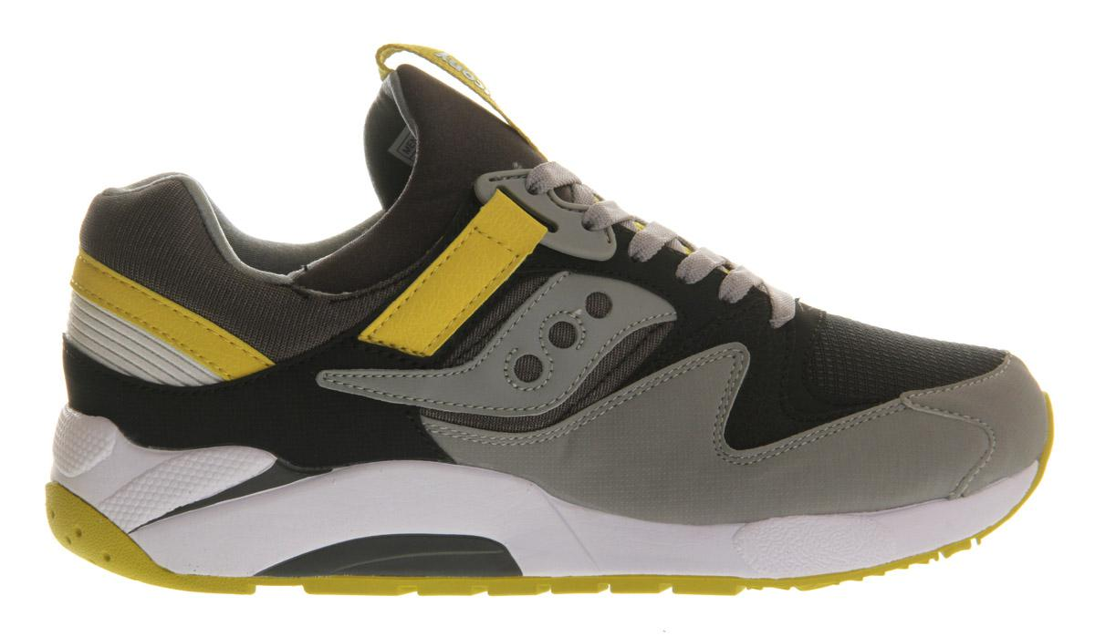 Saucony Grid 9000 in Charcoal Yellow (Grey) for Men