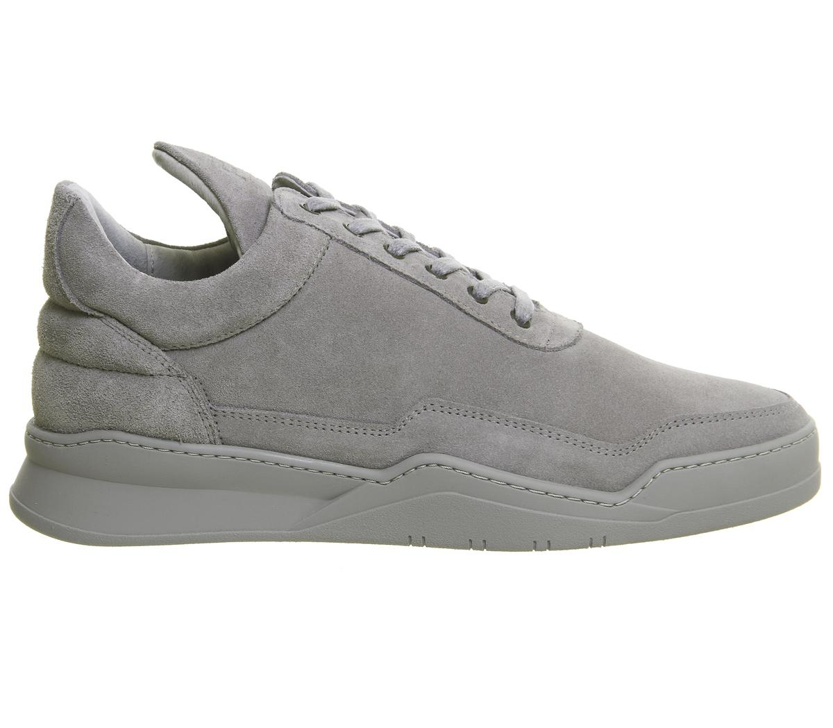 Filling Pieces Leather Low Top Trainers in Grey for Men