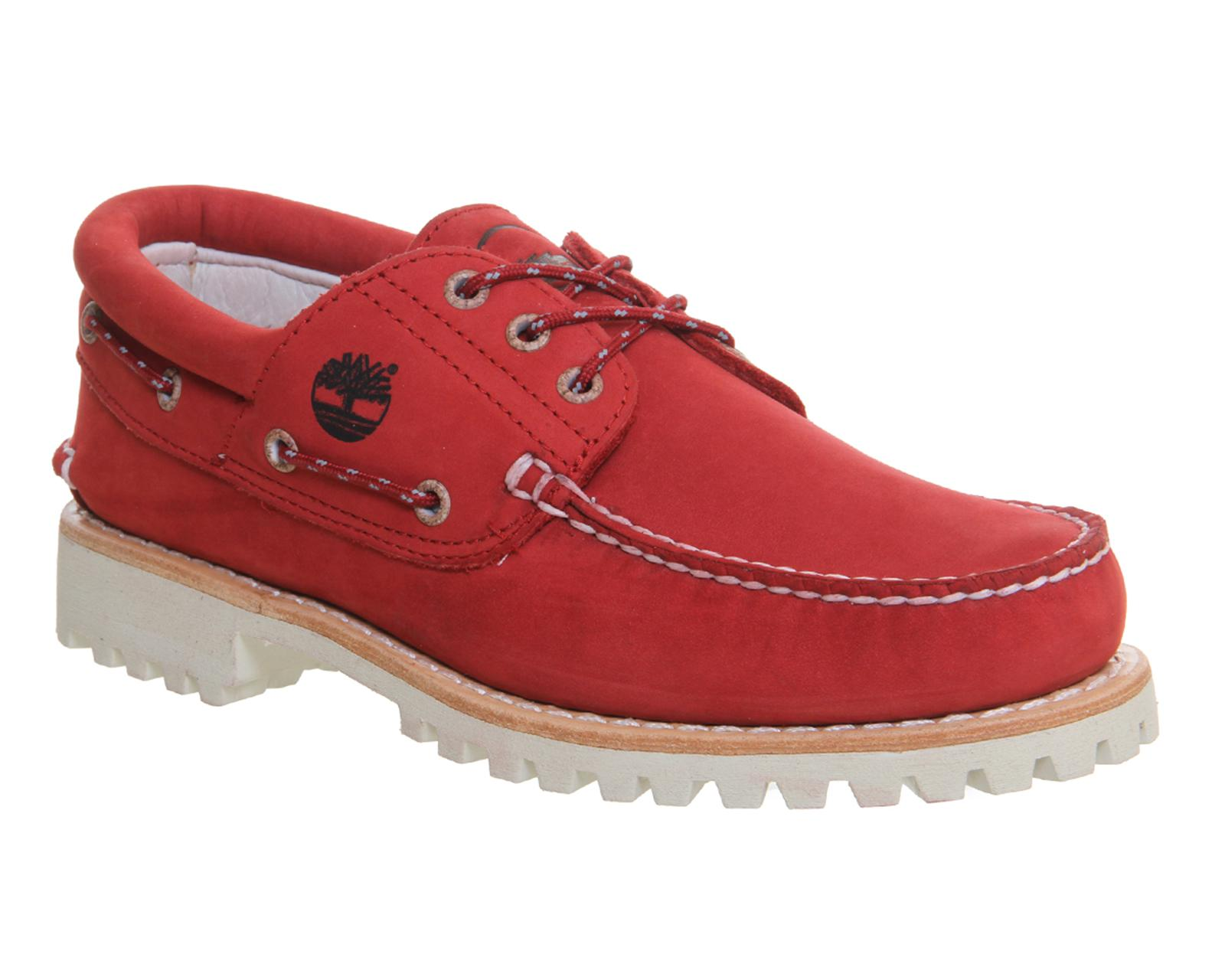 Timberland. Men's Red Lug Boat Shoes