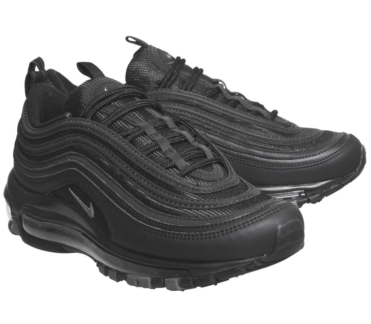 nike air max 97 trainers black black dark grey glitter f
