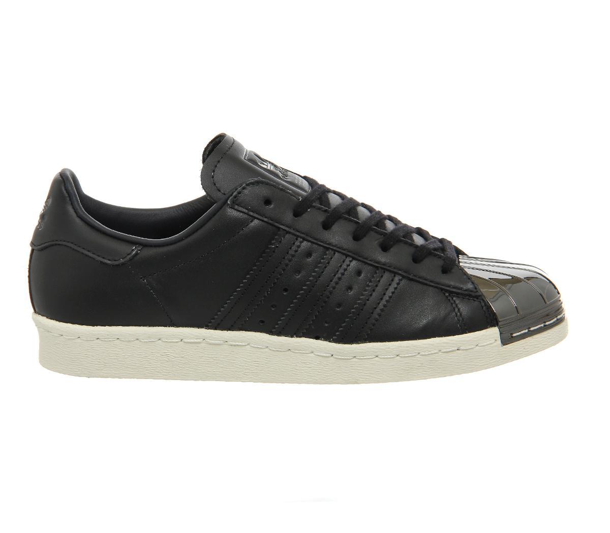 adidas black superstar 80s metal toe trainers