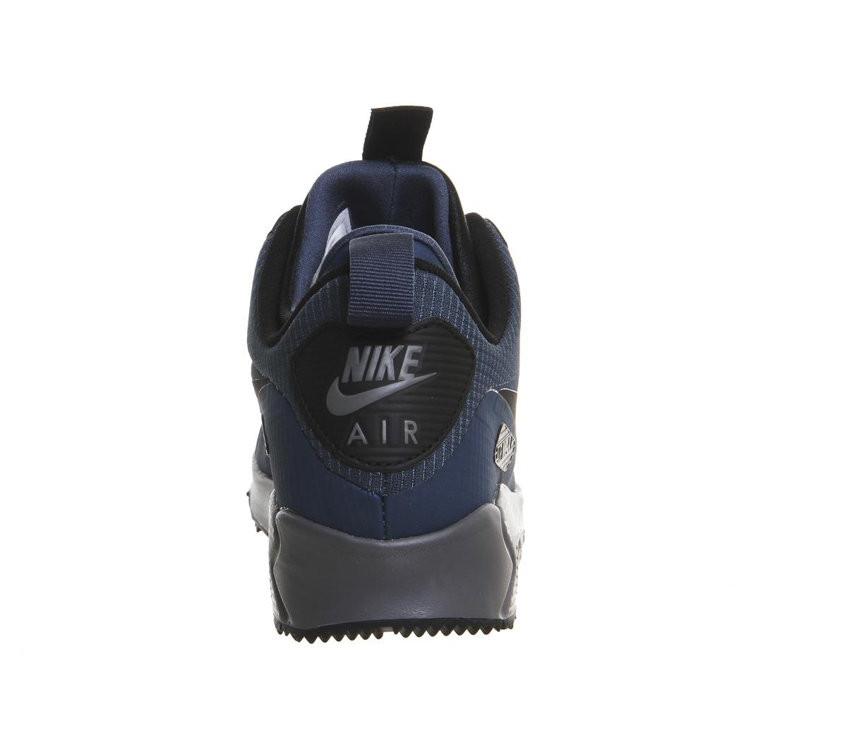 Nike Men's Air Max 90 Mid Winter Squadron Blue Black Shoes