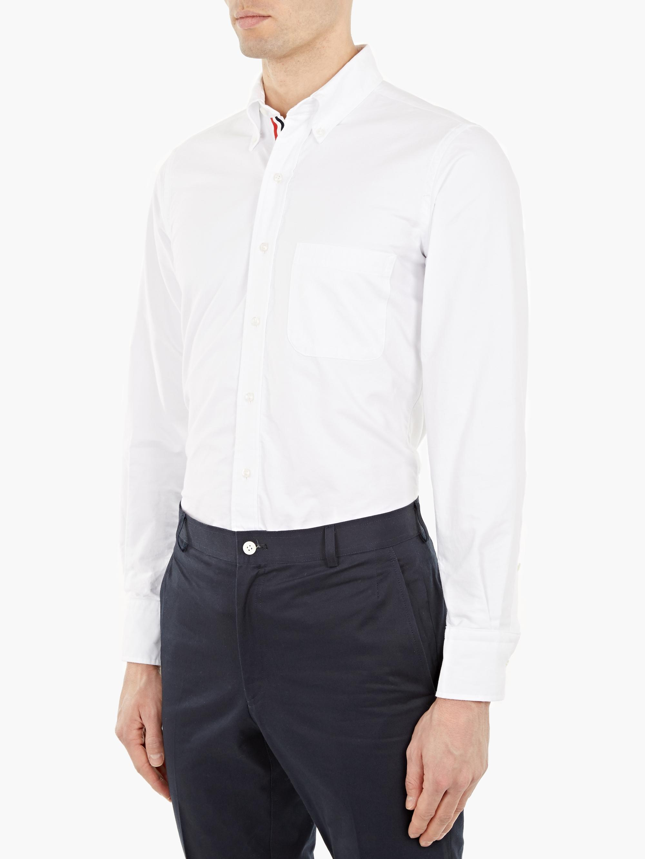 Thom browne white cotton oxford shirt in white for men lyst for Thom browne white shirt