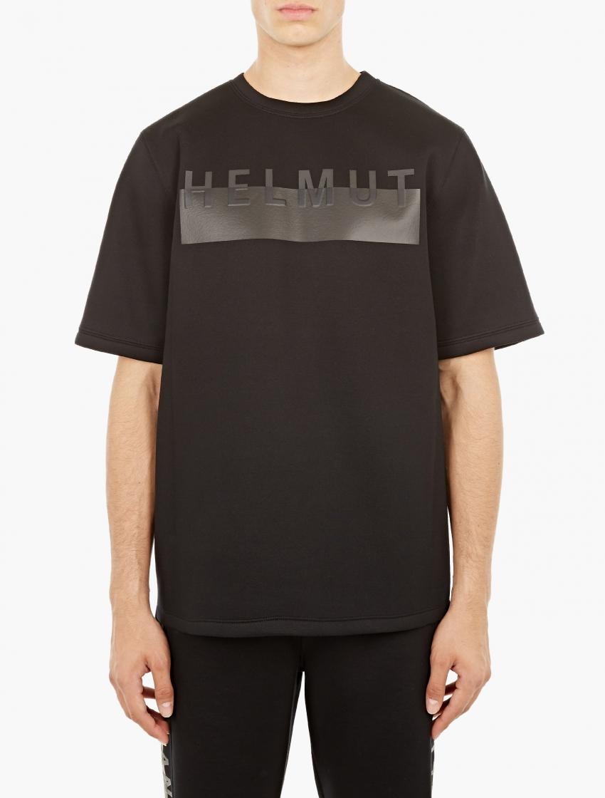Helmut lang black neoprene logo sweatshirt in black for - Sweatshirt kleid lang ...