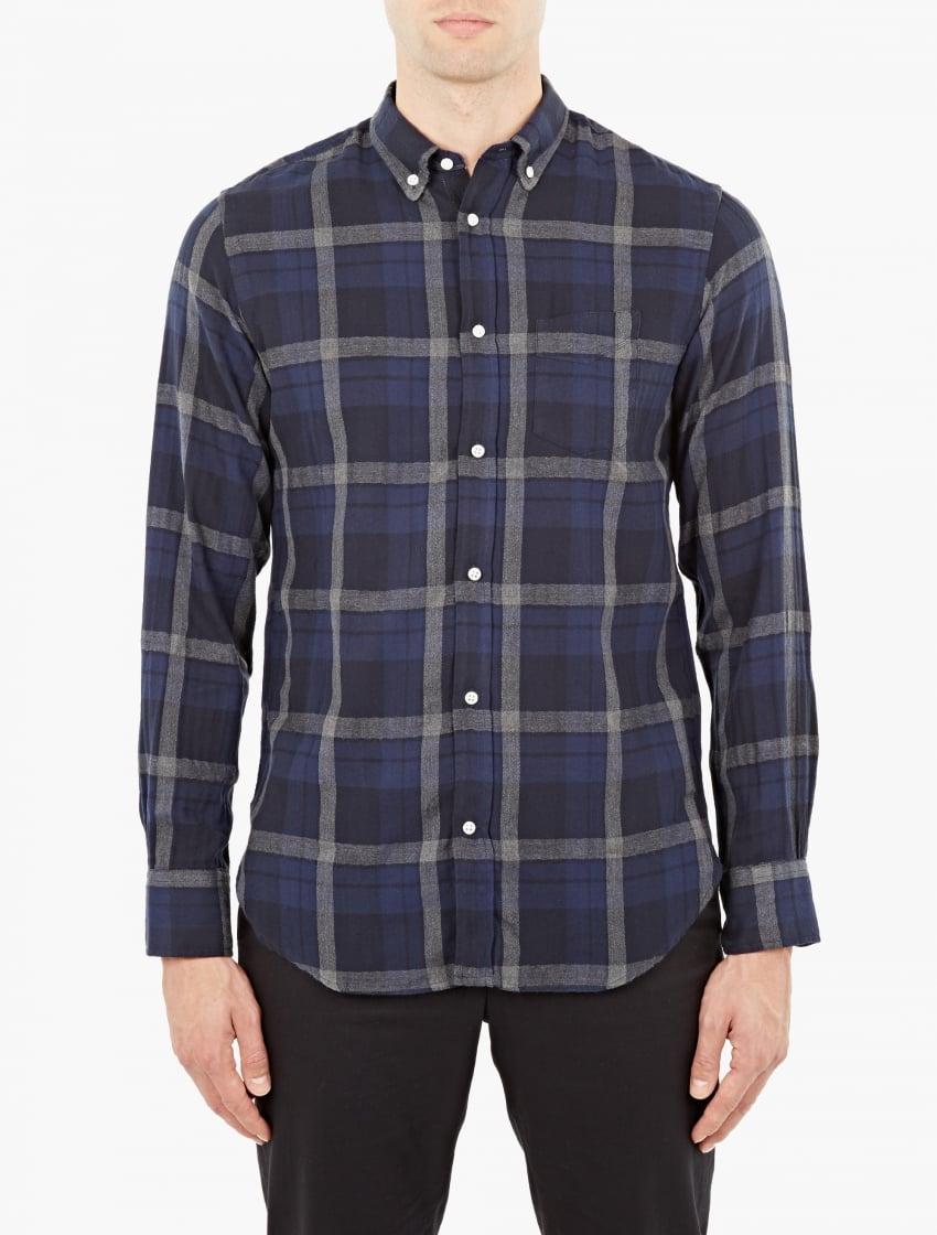 Officine generale navy button down plaid shirt in blue for for Navy blue plaid shirt